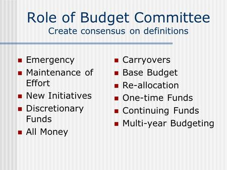 Role of Budget Committee Create consensus on definitions Emergency Maintenance of Effort New Initiatives Discretionary Funds All Money Carryovers Base.