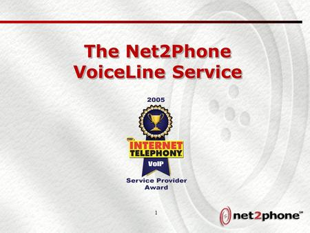 1 The Net2Phone VoiceLine Service. 2 Net2Phone Product Line Overview ServiceDescription Broadband Telephony (VoiceLine) Broadband telephony service for.