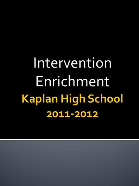 Intervention Enrichment.  Today all enrichment teachers will submit on a slip enrichment and description of interested course.  Students have submitted.