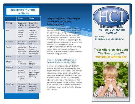 """WITHOUT NEEDLES"" Treat Allergies Not Just The Symptoms!™ ""WITHOUT NEEDLES"" allergiMed™ Drops vs Shots THE HEALTH CARE INSTITUTE OF NORTH FLORIDA Directed."