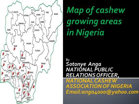 By Sotonye Anga NATIONAL PUBLIC RELATIONS OFFICER, NATIONAL CASHEW ASSOCIATION OF NIGERIA