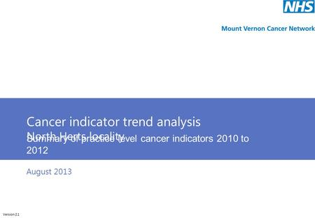 Cunliffeanalytics Cancer indicator trend analysis North Herts locality Summary of practice level cancer indicators 2010 to 2012 Version 2.1 August 2013.