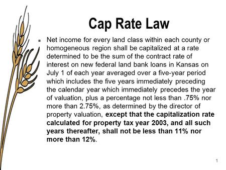 Cap Rate Law n Net income for every land class within each county or homogeneous region shall be capitalized at a rate determined to be the sum of the.