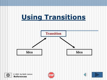 Using Transitions Idea Transition References © 2001 by Ruth Luman.