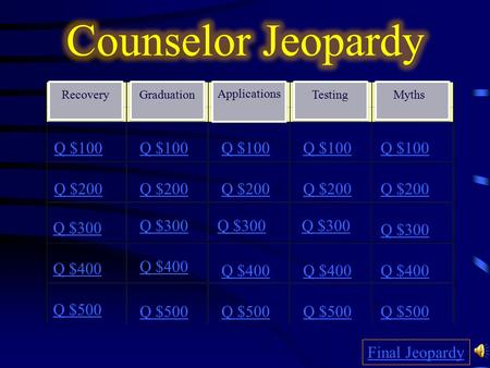 Recovery Q $300 Q $400 Q $500 Q $100 Q $200 Q $300 Q $400 Q $500 Final Jeopardy Q $300 Q $100 Q $200 Graduation Applications Testing Myths.