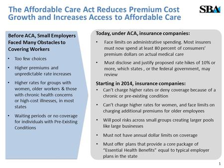 The Affordable Care Act Reduces Premium Cost Growth and Increases Access to Affordable Care Before ACA, Small Employers Faced Many Obstacles to Covering.
