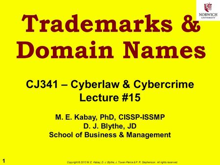 1 Copyright © 2013 M. E. Kabay, D. J. Blythe, J. Tower-Pierce & P. R. Stephenson. All rights reserved. Trademarks & Domain Names CJ341 – Cyberlaw & <strong>Cybercrime</strong>.