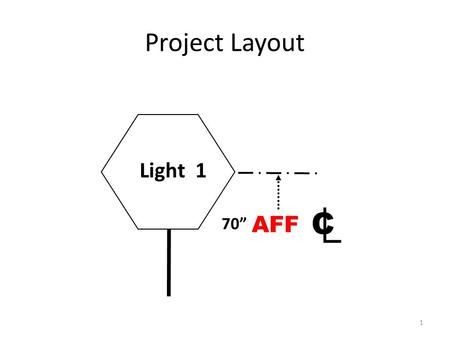 "1 Light 1 C 70"" Project Layout AFF. AFF is the abbreviation for 2 1.After first fire 2.Above finished floor 3.Above flat floor 4.At first floor 5.Average."