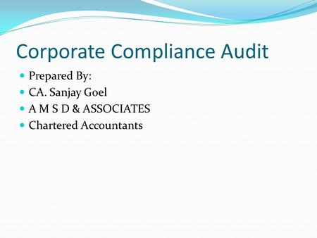 Corporate Compliance Audit