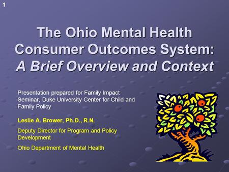 1 The Ohio Mental Health Consumer Outcomes System: A Brief Overview and Context Presentation prepared for Family Impact Seminar, Duke University Center.