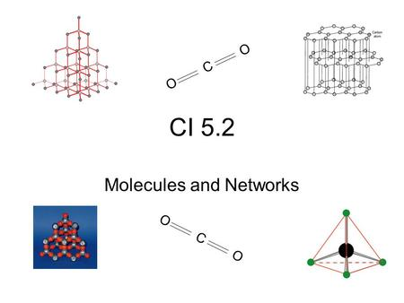 CI 5.2 Molecules and Networks OCOOCO OCOOCO. Carbon and Silicon oxides Carbon and silicon – both in Group 4 So we would expect similar properties But.