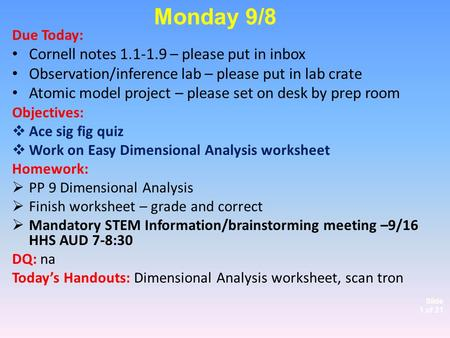 Slide 1 of 21 Due Today: Cornell notes 1.1-1.9 – please put in inbox Observation/inference lab – please put in lab crate Atomic model project – please.