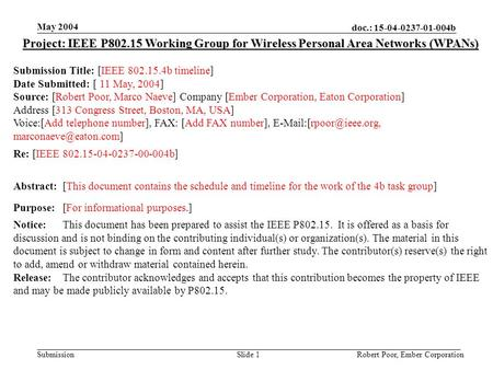 Doc.: 15-04-0237-01-004b Submission May 2004 Robert Poor, Ember CorporationSlide 1 Project: IEEE P802.15 Working Group for Wireless Personal Area Networks.