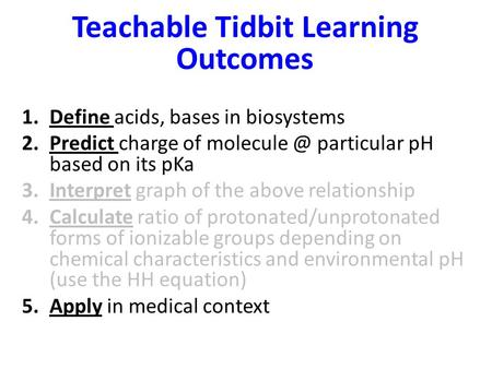 Teachable Tidbit Learning Outcomes