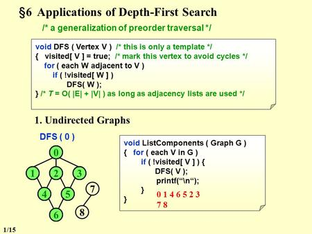 §6 Applications of Depth-First Search /* a generalization of preorder traversal */ void DFS ( Vertex V ) /* this is only a template */ { visited[ V ]
