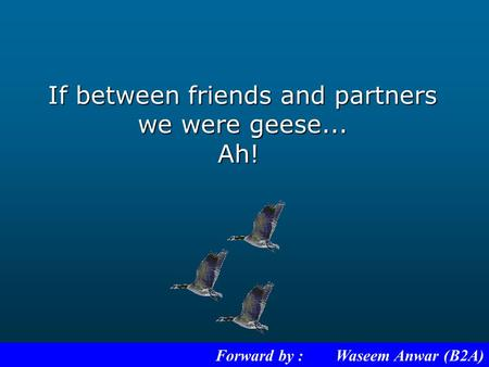 If between friends and partners we were geese... Ah! Forward by : Waseem Anwar (B2A)