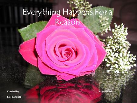Everything Happens For a Reason Created by 01/018/2006 Elci Sanchez.