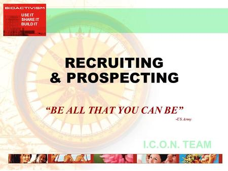 "USE IT SHARE IT BUILD IT I.C.O.N. TEAM RECRUITING & PROSPECTING ""BE ALL THAT YOU CAN BE"" -US Army."