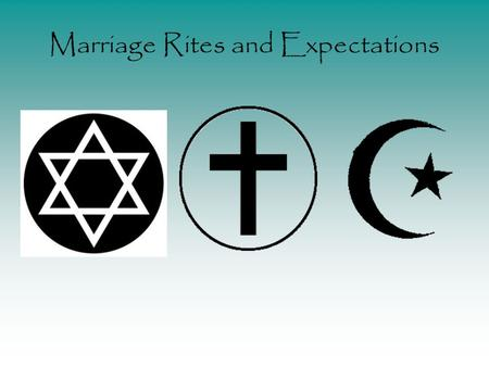 Marriage Rites and Expectations. What is Marriage? Various Definitions - a social institution under which a man and woman establish their decision to.