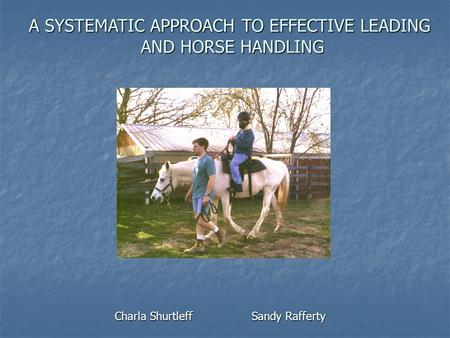 A SYSTEMATIC APPROACH TO EFFECTIVE LEADING AND HORSE HANDLING