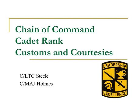 Chain of Command Cadet Rank Customs and Courtesies C/LTC Steele C/MAJ Holmes.