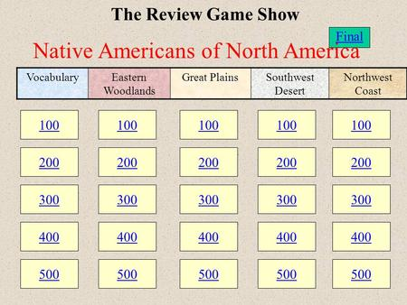 100 200 300 400 500 100 200 300 400 500 100 200 300 400 500 The Review Game Show 100 200 300 400 500 100 200 300 400 500 VocabularyEastern Woodlands Great.