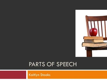 PARTS OF SPEECH Kaitlyn Stooks.  Objectives Objectives  What is a noun? What is a noun?  What is a verb? What is a verb?  What is an adjective? What.