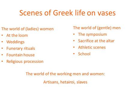 Scenes of Greek life on vases The world of (gentle) men The symposium Sacrifice at the altar Athletic scenes School The world of (ladies) women At the.