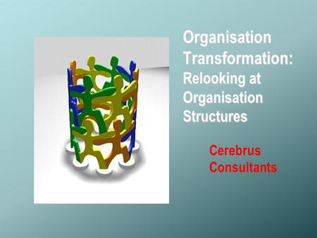 © Copyright- Cerebrus Consultants Organisation Transformation: Relooking at Organisation Structures Cerebrus Consultants.