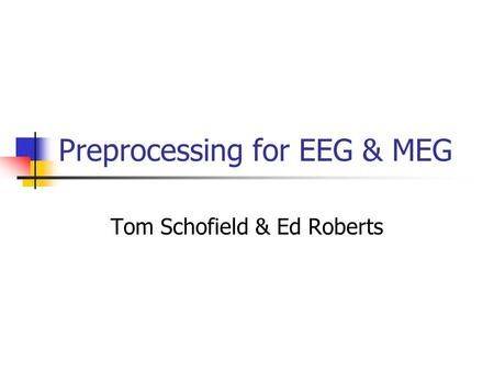 Preprocessing for EEG & MEG