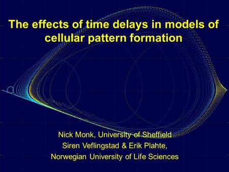 The effects of time delays in models of cellular pattern formation Nick Monk, University of Sheffield Siren Veflingstad & Erik Plahte, Norwegian University.