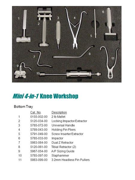 Mini 4-in-1 Knee Workshop Cat. No. Description 1 0155-002-00 2 lb Mallet 25120-034-00 Locking Impactor/Extractor 35785-072-00 Universal Handle 45789-043-00.