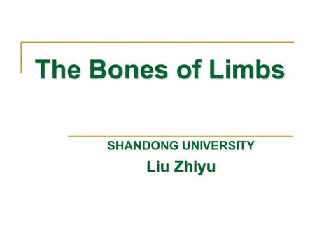 The Bones of Limbs SHANDONG UNIVERSITY Liu Zhiyu.
