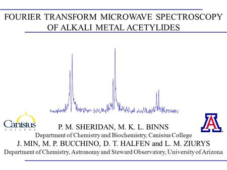 FOURIER TRANSFORM MICROWAVE SPECTROSCOPY OF ALKALI METAL ACETYLIDES P. M. SHERIDAN, M. K. L. BINNS Department of Chemistry and Biochemistry, Canisius College.