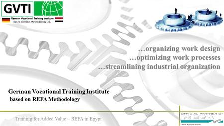 German Vocational Training Institute based on REFA Methodology …organizing work design …optimizing work processes …streamlining industrial organization.