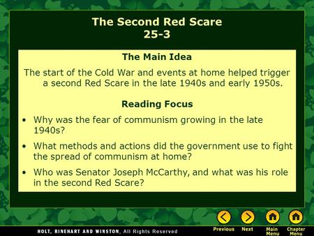 The Second Red Scare 25-3 The Main Idea