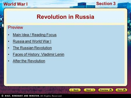 Revolution in Russia Preview Main Idea / Reading Focus