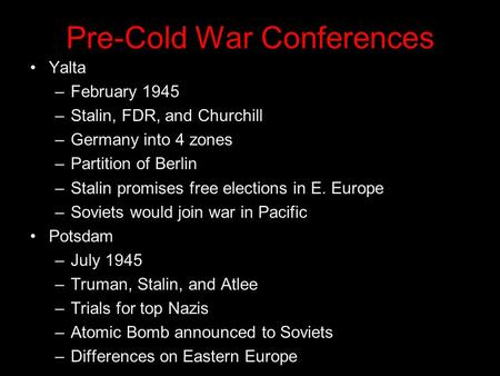 Pre-Cold War Conferences