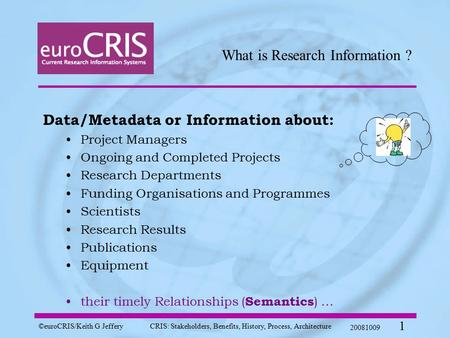 ©euroCRIS/Keith G JefferyCRIS: Stakeholders, Benefits, History, Process, Architecture 20081009 1 What is Research Information ? Data/Metadata or Information.
