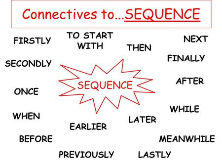 Connectives to...SEQUENCE SEQUENCE FIRSTLY SECONDLY TO START WITH THEN NEXT AFTER ONCE WHEN WHILE BEFORE LATER EARLIER MEANWHILE PREVIOUSLY FINALLY LASTLY.