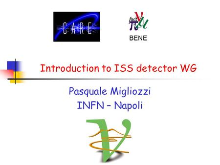 BENE Introduction to ISS detector WG Pasquale Migliozzi INFN – Napoli.
