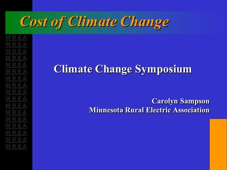 M R E A Cost of Climate Change Climate Change Symposium Carolyn Sampson Minnesota Rural Electric Association Climate Change Symposium Carolyn Sampson Minnesota.