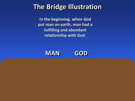 The Bridge Illustration In the beginning, when God put man on earth, man had a fulfilling and abundant relationship with God. MANMANGODGOD.