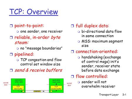 Transport Layer3-1 TCP: Overview r full duplex data: m bi-directional data flow in same connection m MSS: maximum segment size r connection-oriented: m.