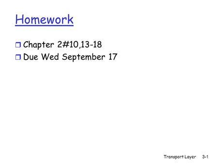 Transport Layer3-1 Homework r Chapter 2#10,13-18 r Due Wed September 17.