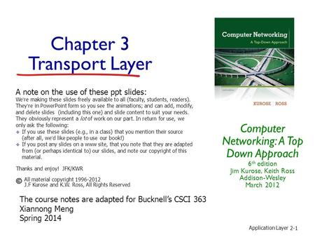 Application Layer 2-1 Chapter 3 Transport Layer Computer Networking: A Top Down Approach 6 th edition Jim Kurose, Keith Ross Addison-Wesley March 2012.
