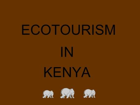 ECOTOURISM IN KENYA. Background The name of the project is called 'Propoor Tourism' Propoor tourism is an enlightening, participatory travel experience.