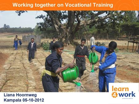 Working together on Vocational Training Liana Hoornweg Kampala 05-10-2012.