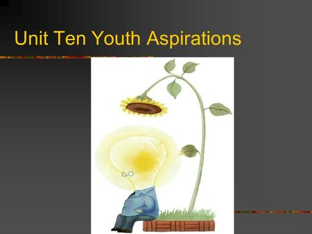 Unit Ten Youth Aspirations Part I aspiration: a strong desire for high achievement syndrome: a set of medical symptoms which represent a physical or.