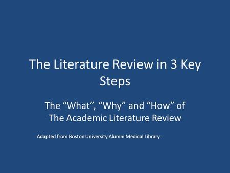 The Literature Review in 3 Key Steps